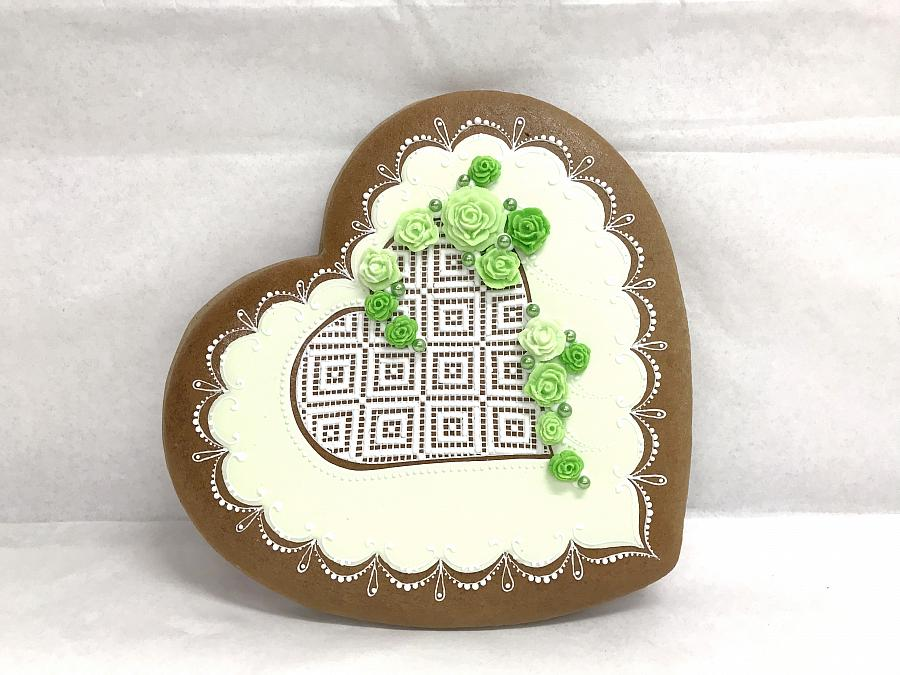 Painted Gingerbread - Heart lace large, Czech Krumlov Original